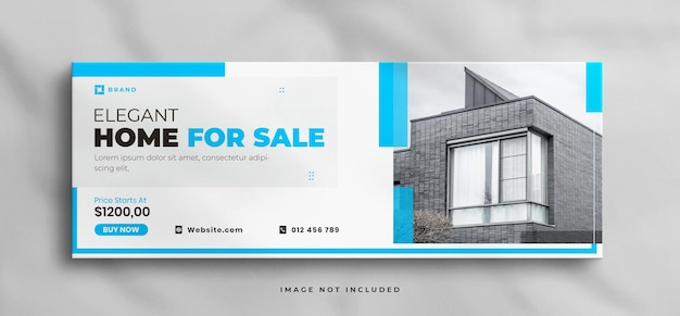 Traumhaus zum verkauf immobilien facebook-cover-vorlage mit mockup