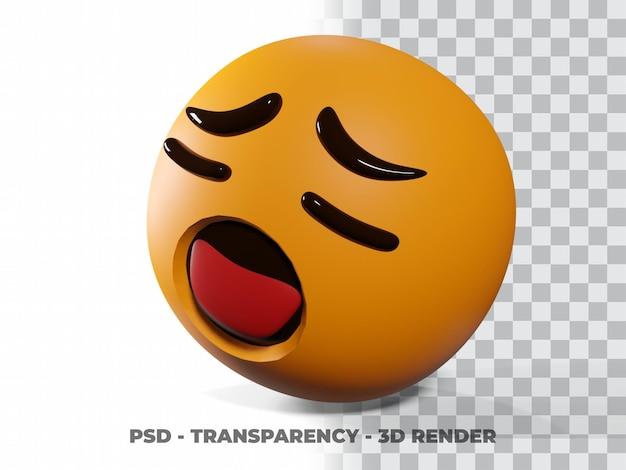 Trauriges emoticon 3d mit transparenzhintergrund