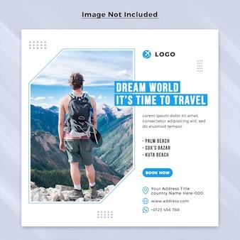 Travel dream urlaub urlaub social media post square web banner