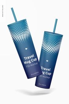 Travel mug cup mockup, schwimmend