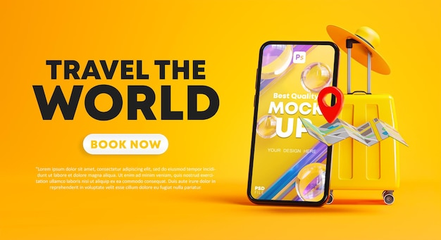 Travel the world campaign poster banner design phone mockup, yellow luggage, pin map and hat 3d rendering