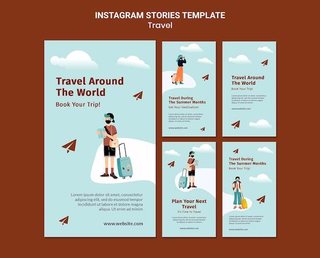 Travelling instagram story-vorlagen Premium PSD