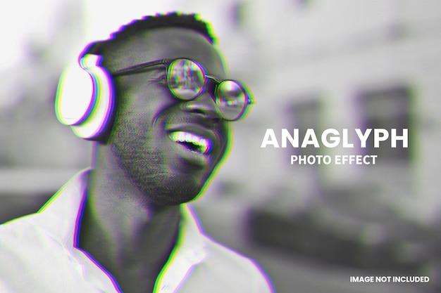 Trendige anaglyphen-fotoeffekt-vorlage