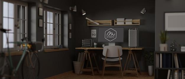 Trendiges home-office-zimmer des 3d-renderings mit computermodell