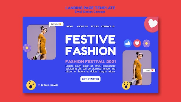 Trendy casual fashion life landing page vorlage