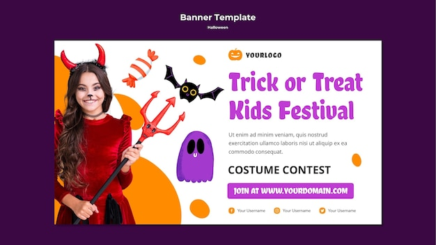 Trick or treat kinder festival banner vorlage