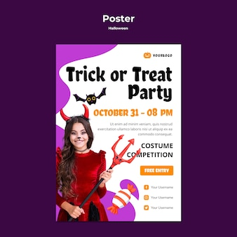 Trick or treat party poster vorlage