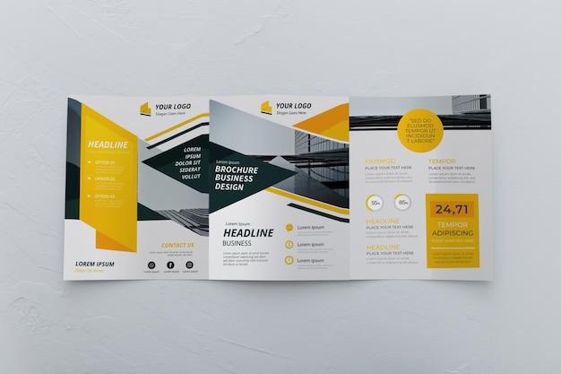 Trifold broschüre konzept modell