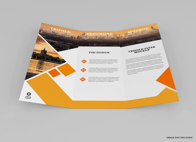 Trifold broschüre mockup design isoliert