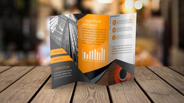 Trifold broschürenmodell auf tischplatte