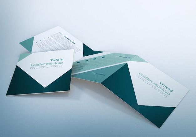 Trifold leaflet mockup business broschüre design