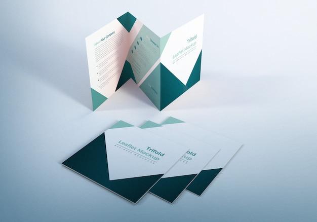 Trifold leaflet mockup design für präsentationen Premium PSD