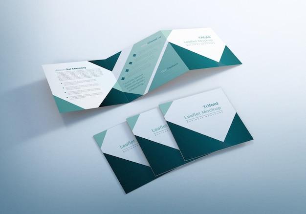 Trifold square leaflet mockup design Premium PSD