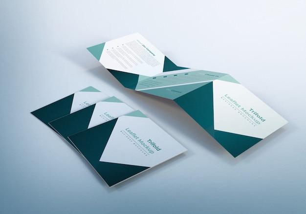 Trifold square leaflet mockup