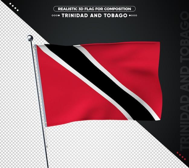 Trinidad und tobago flagge mit realistischer textur