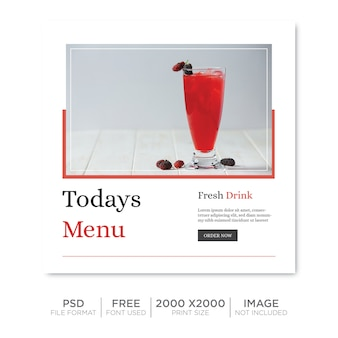 Trinken sie social-media-post-vorlagendesign
