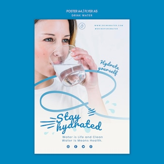 Trinkwasser konzept flyer vorlage