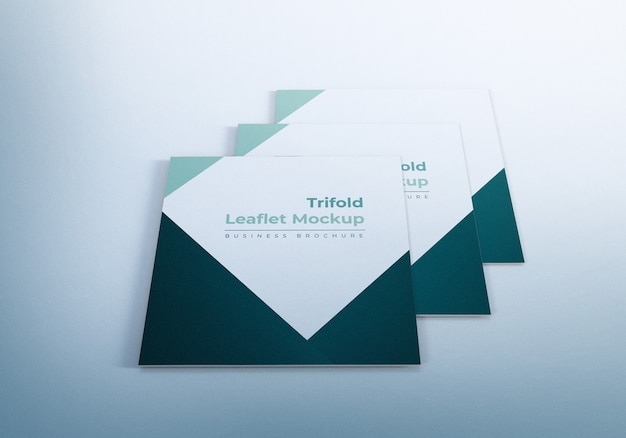 Triple square trifold leaflet mockup