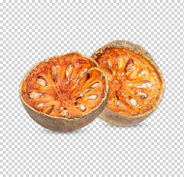 Trockene bael-frucht - scheiben von trockenen bael-frucht isoliert premium psd