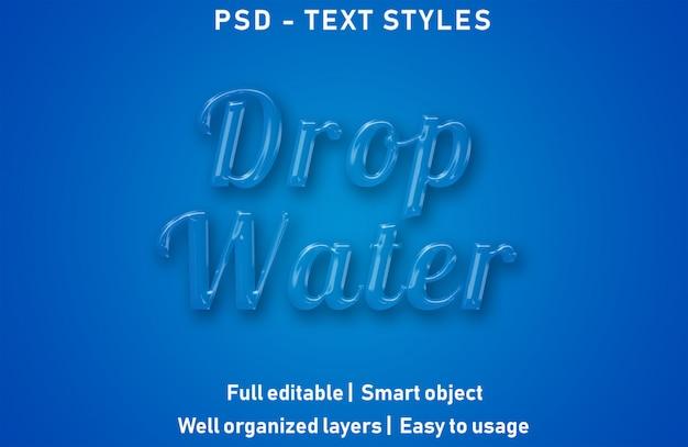 Tropfen wasser texteffekte stil bearbeitbare psd