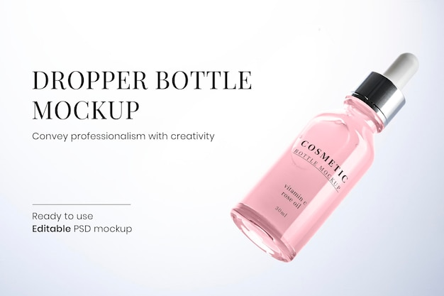 Tropferflasche mockup psd gebrauchsfertig für schönheit und hautpflege