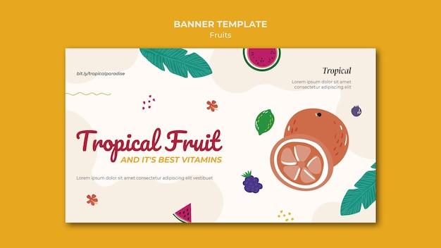 Tropische früchte banner vorlage