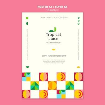 Tropische saftplakatschablone