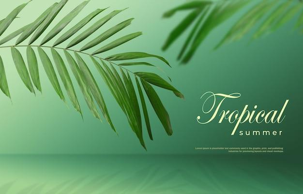 Tropischer sommerverkaufshintergrund von palmblättern auf einem grünen hintergrund