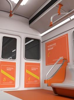 Türposter-mockup-design für öffentliche verkehrsmittel in 3d-rendering