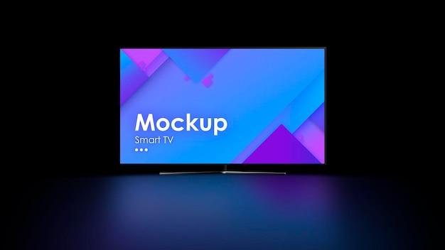 Tv-modell auf schwarz mit reflexion auf dem boden