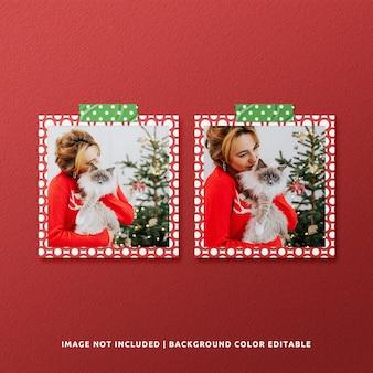 Twin square paper frame mockup für weihnachten