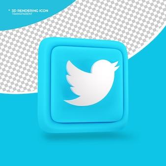 Twitter 3d-render-symbol zeichen oder symbol