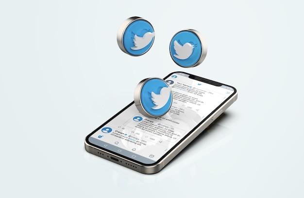 Twitter auf silver mobile phone mockup mit 3d-symbolen