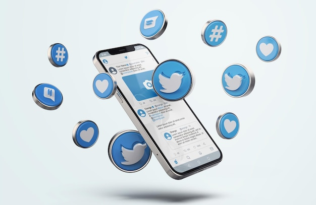 Twitter auf silver mobile phone mockup mit 3d-symbolen Premium PSD