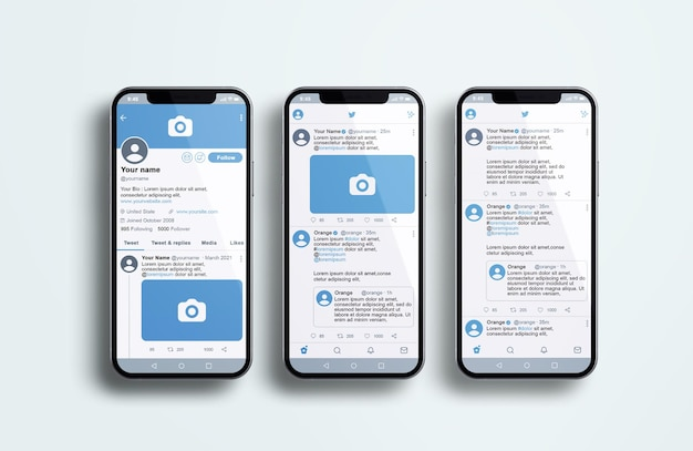 Twitter auf silver mobile phone mockup