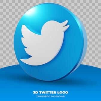 Twitter-logo isoliert in 3d-rendering