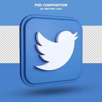 Twitter-symbol 3d-rendering isoliert