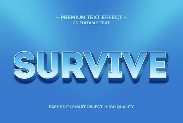 Überlebe die 3d-texteffektvorlage