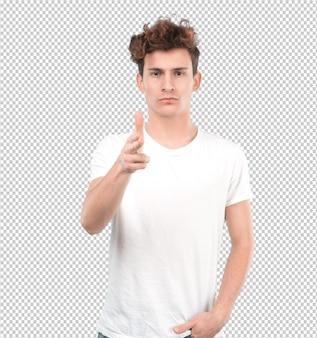 Überzeugter junger kerl, der mit seiner hand zeigt
