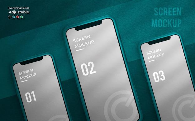 Ui-design oder app-schnittstellenmodell auf dem 3d-telefonbildschirm Premium PSD
