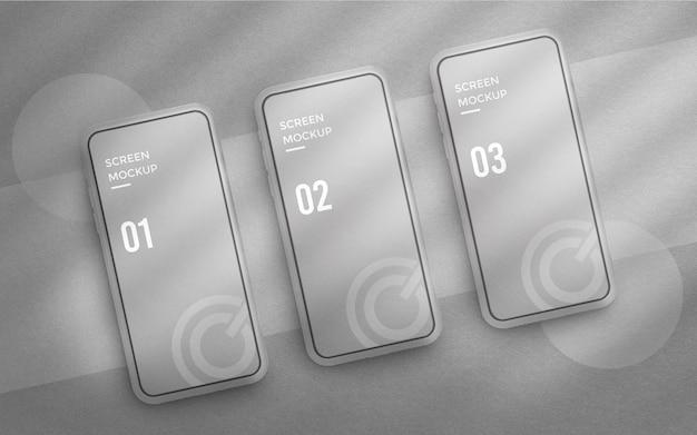Ui-design oder app-schnittstellenmodell auf weißem 3d-telefonbildschirm
