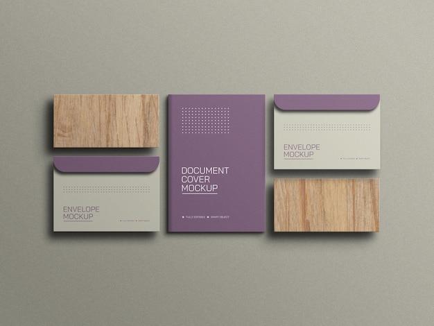 Umschlag mit a4-dokumentenbriefpapiermodell