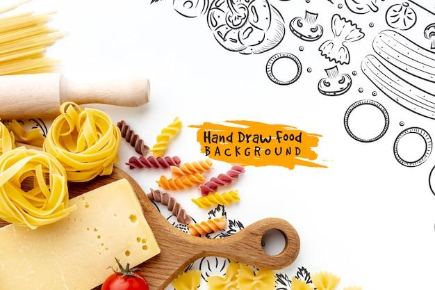 Ungekochte teigwarenmischung und -tomaten der flachen lage mit hand gezeichnetem hintergrund