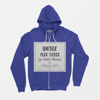 Unisex flex fleece zip hoodie modell