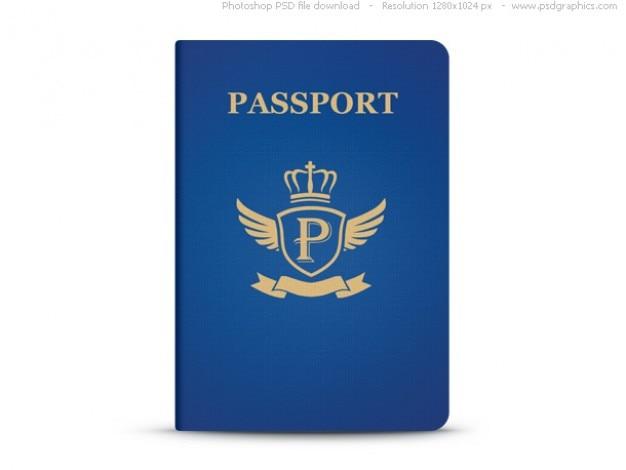 Universal-blauen pass, psd-vorlage