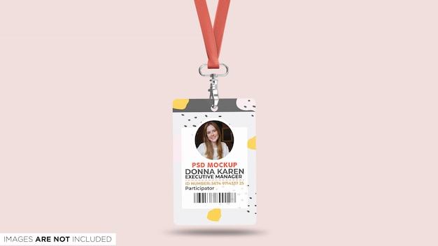 Unternehmensausweis mit lanyard front view psd mockup