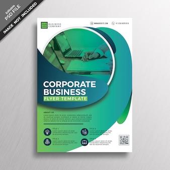 Unternehmensfliegerschablone der grünen modernen abstrakten geometriestil