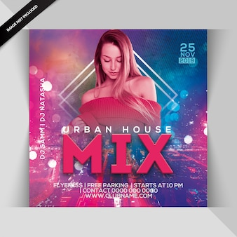 Urban house mix party flyer