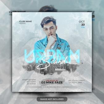 Urban live musik konzert flyer oder party poster vorlage