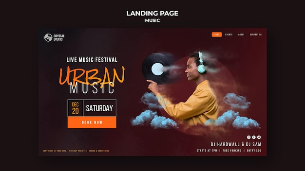Urban music landing page vorlage